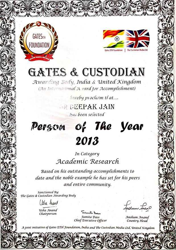 Gates & Custodian Person of the Year Award